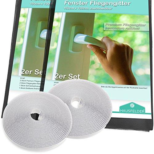 Hausfelder Insektenschutz Fliegengitter für Fenster 2er Set, 150x130 cm zuschneidbar und durchsichtig, einsetzbar als Fliegenschutz Fenstergitter und Pollenschutzgitter