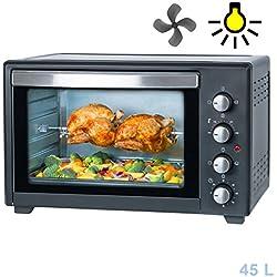 Horno eléctrico de 45 L | Mini horno 2000 W con iluminación interior profesional de la marca TZS First Austria |Espetón giratorio y ventilación Mini Pizza |