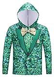 Pizoff Unisex Hip Hop Cosplay Sweatshirt Maskerade Kapuzenpullover mit Bunt 3D Floral Blumen Sakko Blazar Anzug Digital Print - Y1819-03 - Small