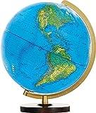 Columbus PANORAMA Leuchtglobus: Tischmodell, bruch- und wärmefeste Acrylglaskugel, Kugeldurchmesser 34 cm, Fuß aus massivem Nussbaumholz, Meridian aus Kunststoff, goldfarben