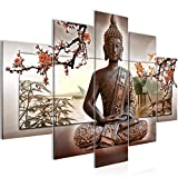 Bilder Buddha Feng Shui Wandbild 150 x 100 cm Vlies - Leinwand Bild XXL Format Wandbilder Wohnzimmer Wohnung Deko Kunstdrucke Rot 5 Teilig - MADE IN GERMANY - Fertig zum Aufhängen 503253c
