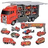 JOYIN 10 en 1 Moulé sous Pression Véhicule de Pompiers Mini Sauvetage Camion de Pompiers d'urgence de Secours Situé dans Camion Porteur