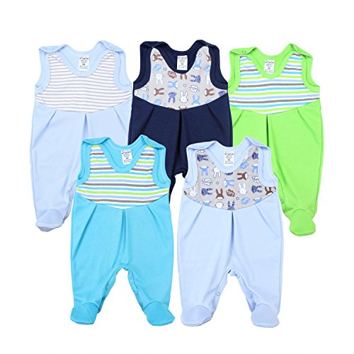 TupTam Baby Strampler mit Print Strampelanzug 5er Pack, Farbe: Junge, Größe: 68