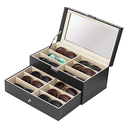 MyGift Brillenetui mit 12 Fächern und Glasdeckel, 1 Schublade und Kunstlederbesatz, Schwarz