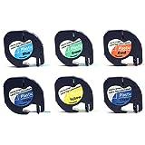 Für dymo tape,BEETEST 6pcs 12 x 4mm Etikettenband Papierklebebänder für DYMO LetraTag 91201 91202 91200 91203 91204 91205 Serie Etikettendrucker