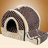FUGUI 2in 1Haustier-Haus Hundebett für Hunde, weicher Stoff, mit abnehmbarem Sitzkissen