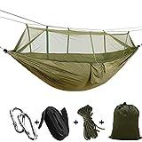 Camping hamaca sconfid al aire libre portátil tela de paracaídas hamaca Swing cama con mosquitera de viaje para senderismo y viajar, verde
