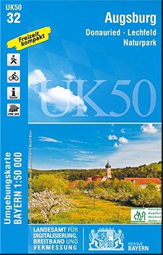 NP Augsburg (UK 50-32) (UK50 Umgebungskarte 1:50000 Bayern Topographische Karte Freizeitkarte Wanderkarte)