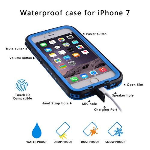 iPhone 7 Wasserdichte Hülle, FindaGift IP68 Outdoor Handyhülle Full Sealed Tasche Case Ultra dünn Full Body Staubdicht Stoßfest Schneedicht Anti-Kratzer Underwater Schutzhülle mit Displayschutzfolie f Blau