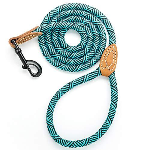 Mile High Life Leder Tailor Griff Klettern Hund Seil Leine mit Schweren Pflicht Metall Stabile Schließe (4/5/6Füße), 6 FT, Türkis Grün (Hundeleine Fuß 6 Leder)