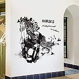 YA-ASKK Running Horse Cartoon Wall Sticker Camera da Letto Soggiorno TV Divano Sfondo Decorazione Adesivi Rimovibili