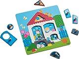 HABA 302527 - Greifpuzzle Mein Zuhause | Holzspielzeug ab 12 Monaten | 7-teiliges Puzzle aus Holz mit buntem Hausmotiv | Mit großen Knöpfen zum Greifen