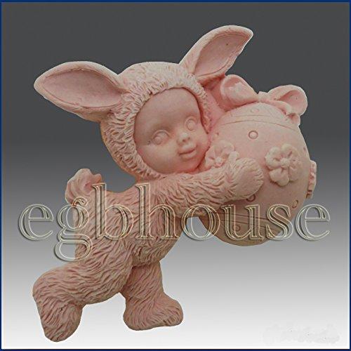 Kid Kleider bis in Bunny Kostüm halten Ei–Detail der hohe Relief Skulptur–Silikon Seife/Polymer/Ton/kalt Porzellan Form/Silikon (Kostüme Ei)