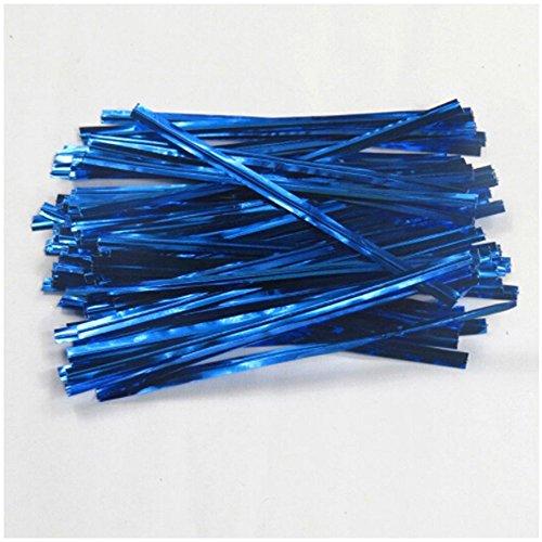 tallic Twist Krawatten Twistband Bindedraht Metalldraht Twist Ties für Dichtung Cello Brot backen Süßigkeiten(Blau) ()
