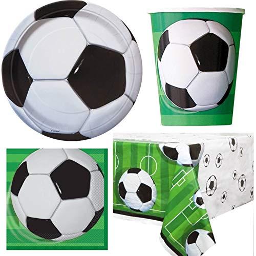 Menaje para Fiesta de Fútbol, Conjunto para 16 Personas - Taza, Platos, Servilletas, Mantel