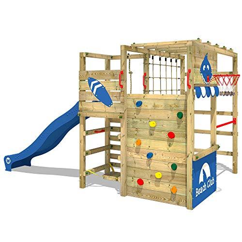 WICKEY Klettergerüst Smart Tactic Garten Spielturm mit Rutsche, Hangelbrücke, Kletternetz und viel Zubehör
