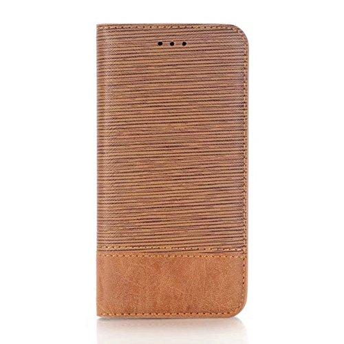 EKINHUI Case Cover Cross Lines Mixed Farben Pattern Premium PU Leder Brieftasche Case Cover mit Card Slots und Kickstand für iPhone X ( Color : Blue ) Brown