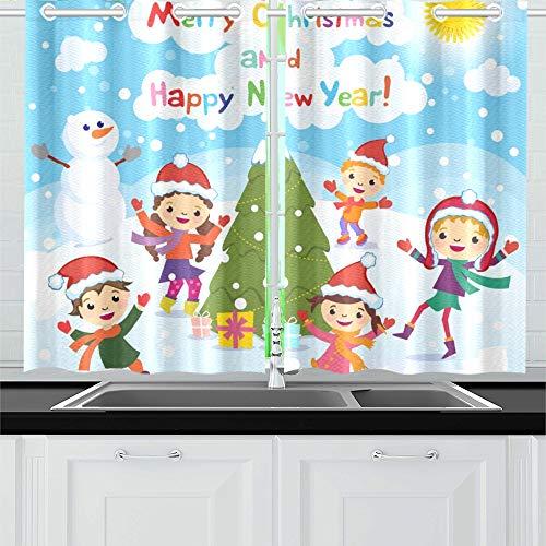 JOCHUAN Frohe Weihnachten Frohes Jahr 2017 Küchenvorhänge Fenster Vorhangebenen Für Café, Bad, Wäscherei, Wohnzimmer Schlafzimmer 26 X 39 Zoll 2 Stücke
