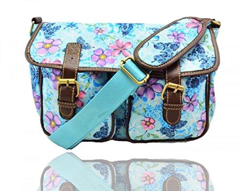 LeahWard® Damen Mode Satchel Taschen Kid's Damen Qualität Segeltuch Eule Schmetterling Blume Drucken Umhängetasche Handtasche CWC6072 CWC6072-BF2-blau