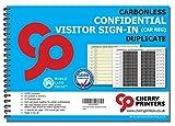 Cherry Printers Registro di accesso visitatori, rilegatura a spirale, con casella per targa auto, in carta autocopiante senza carbonio, formato A4, 50 pagine doppie