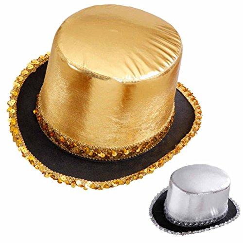 Zylinderhut gold Pailletten Zylinder Hut gold Disco Glitzerhut -