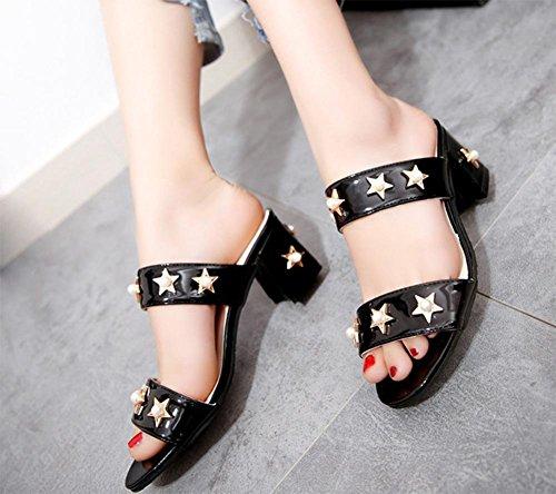 Metallperle fünfzackigen Stern weibliche Sandalen grobes Wort mit weiblichen Sandalen und Pantoffel Sommer Sandalen und Pantoffeln Black