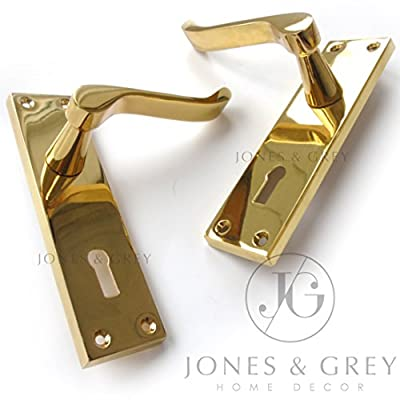 Pair Of Polished Brass Victorian Scroll Lever Latch Lock Keyhole Door Handles On Back Plate - cheap UK light shop.