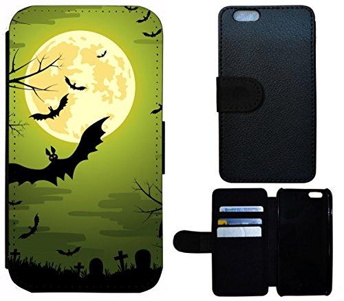 Flip Cover Schutz Hülle Handy Tasche Etui Case für (Apple iPhone 6 / 6s, 1508 Hexe Besen Halloween Mond) 1505 Fledermaus Bat Cartoon Halloween