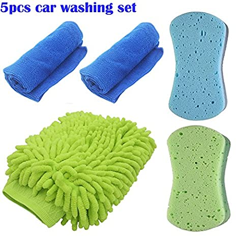 EEFUN 5 IN 1 House Cleaning or Car Washing Kit, including Microfiber Waterproof Washing Mitt *1, Washing Compressed Absorbent Sponge*2, Microfiber Cleaning Towel*2, Multi-Use Kitchen Office Cleaning Tool, Lint free, Scratch