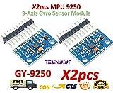 TECNOIOT 2pcs Gyro Sensor Mpu 9250 Magnetometer Accelerator 9-Axis Attitude SPI GY-9250