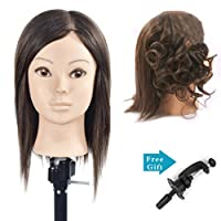 BoLi Training Head Hairdressing 100% Real Human Hair Styling Mannequin Manikin Doll (Table Clamp Holder Included)