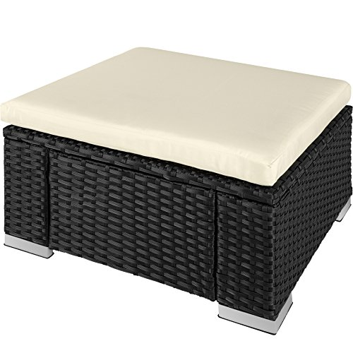 TecTake Poly Rattan Stool | Comfortable seat cushion | Weather-resistant - different Colors - (Black | No. 402666)