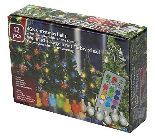 12 Boules de Noel SANS FILS - avec télécommande - 12 Couleurs - Programm.