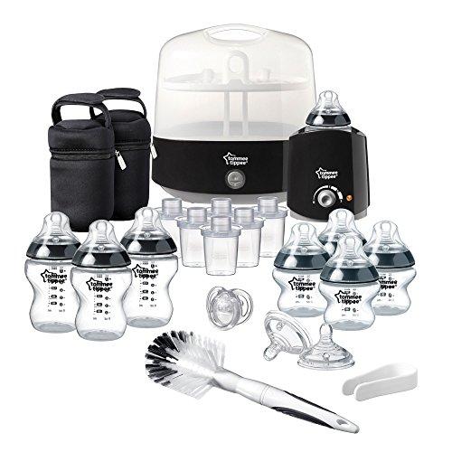 Tommee Tippee - Juego completo de accesorios para alimentación de bebé negro