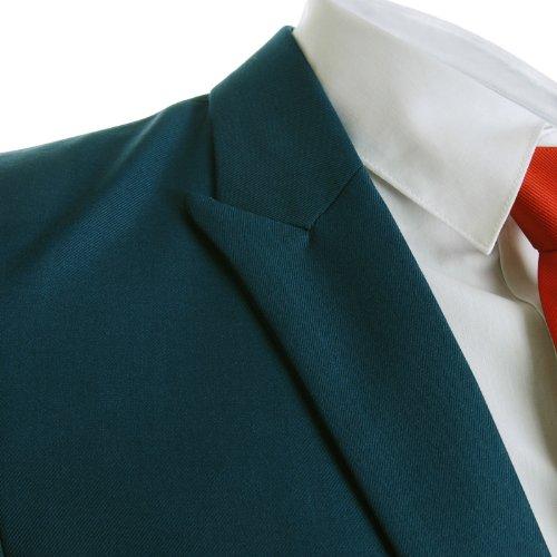 FLATSEVEN Homme Designer Slim Fit Peaked Lapel Blazer blue