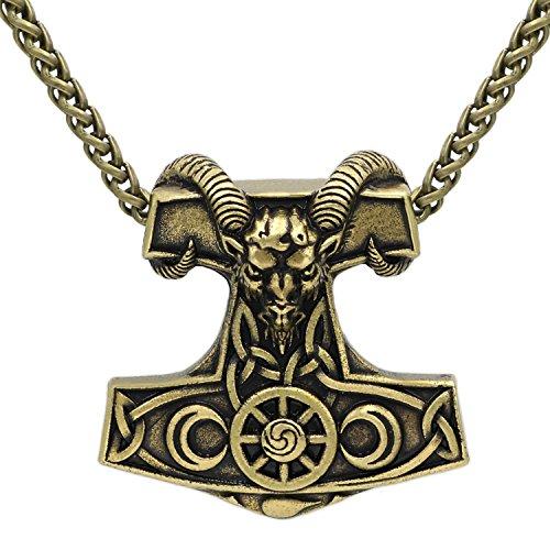Viking Goat Amulet Thor Hammer Horn Mjolnir Steampunk
