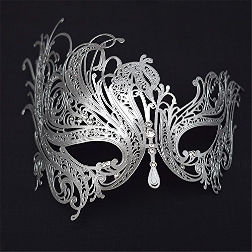 Maskerade,Herz Hyun Metall Strass Half Face Maske Female Halloween Make-up Abschlussball Party Show Prinzessin Maske Augenmaske Silber Masquerade