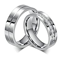 Stainles Steel 6MM Silver Wedding Engagement Ring Set For Couples with CZ Women Size R 1/2 & Men Size X 1/2