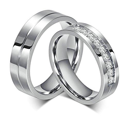 Epinki Bijoux Alliance Acier Inoxydablel 6MM Argent Mariage Engagement Bague Ensemble pour Couples Avec Zircone Cubique Femme Taille 49 & Homme Taille 64