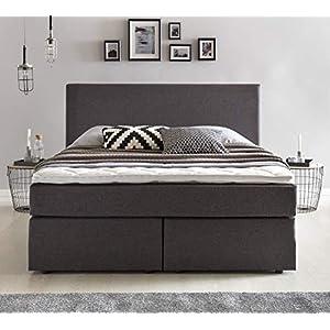 Furniture For Friends Möbelfreude® Boxspringbett Benno | 180x200 cm Anthrazit H2 | mit hochwertiger Bonell Federkernmatratze, Komfortschaum-Topper