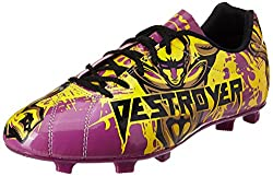 Nivia Destroyer Football Shoes, UK 6 (Black/Yellow/Purple)