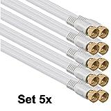 1aTTack Koaxial Anschluss Kabel Antennenkabel Sat Kabel Anschlusskabel F-Stecker Koaxialstecker auf Koaxialkupplung doppelt geschirmt/Dreifach geschirmt/4fach geschirmt/75dB/85dB/100dB/110dB/120dB/125dB SAT weiß F-F gold 85db (5 Stück) 1,5 Meter