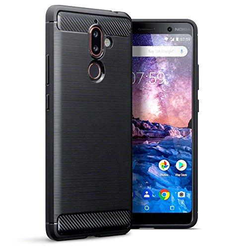 TERRAPIN, Kompatibel mit Nokia 7 Plus Hülle, TPU Schutzhülle Tasche Case Cover mit Karbonfaser und Ausgebürstet Dessin - Schwarz