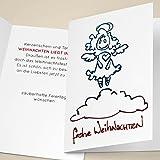 4er Set Schöne Unternehmen Weihnachtskarten mit süßem Herz Weihnachts-Engel auf Wolke, mit ihrem Innentext (Var6) drucken lassen, als Weihnachtsgrüße geschäftlich / Neujahrskarte / Firmen Weihnachtskarte für Kunden, Geschäftspartner, Mitarbeiter: frohe Weihnachten