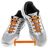 WELKOO® Lacets Elastique en Silicone Sans Lacage Etanche pour Chaussure Adulte -16pcs Couleur orange