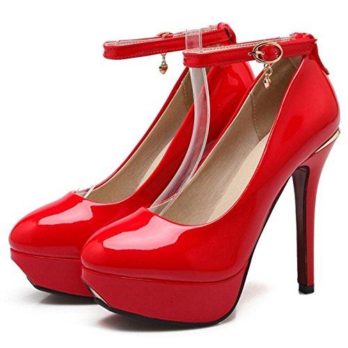 TAOFFEN Femmes Talons Escarpins Red-83