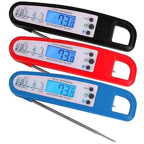 MALLTY Digital Food Cooking Thermometer Instant Read Fleisch-Thermometer für die Küche BBQ Grill Raucher schwarz (Farbe : Red) -