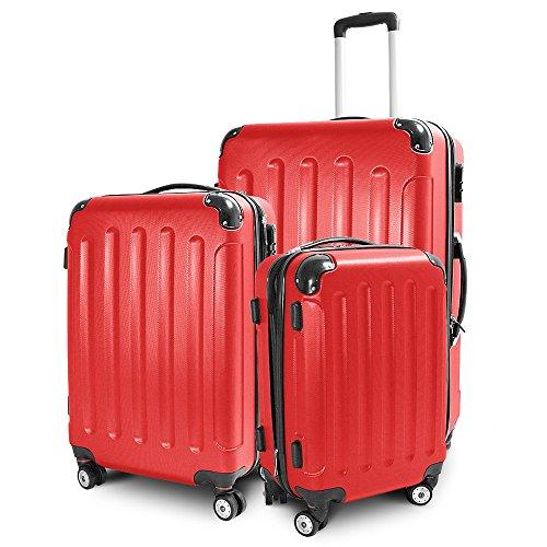 BERWIN Kofferset 3-teilig Reisekoffer Trolley Hartschalenkoffer ABS Teleskopgriff (Rot)