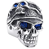 Konov Jewellery Mens Stainless Steel Ring, Gothic Tribal Skull, Color Blue Silver, Size M (with Gift Bag)