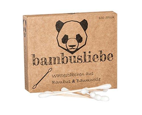 ✮ bambusliebe ✮ Bambus Wattestäbchen ♻ für Kinder & Erwachsene ♻ Bambusstäbchen & flauschige Baumwolle ♻ Nachhaltig ✅ Vegan ✅ Kompostierbar ✅ - Wattestäbchen Swab